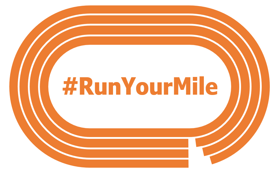Orange running track styled logo with 4 lanes containing the hashtag Run Your Mile where the infield would be